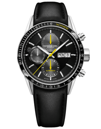 RAYMOND WEIL Men's Black Chronograph Watch, Stainless Steel With leather