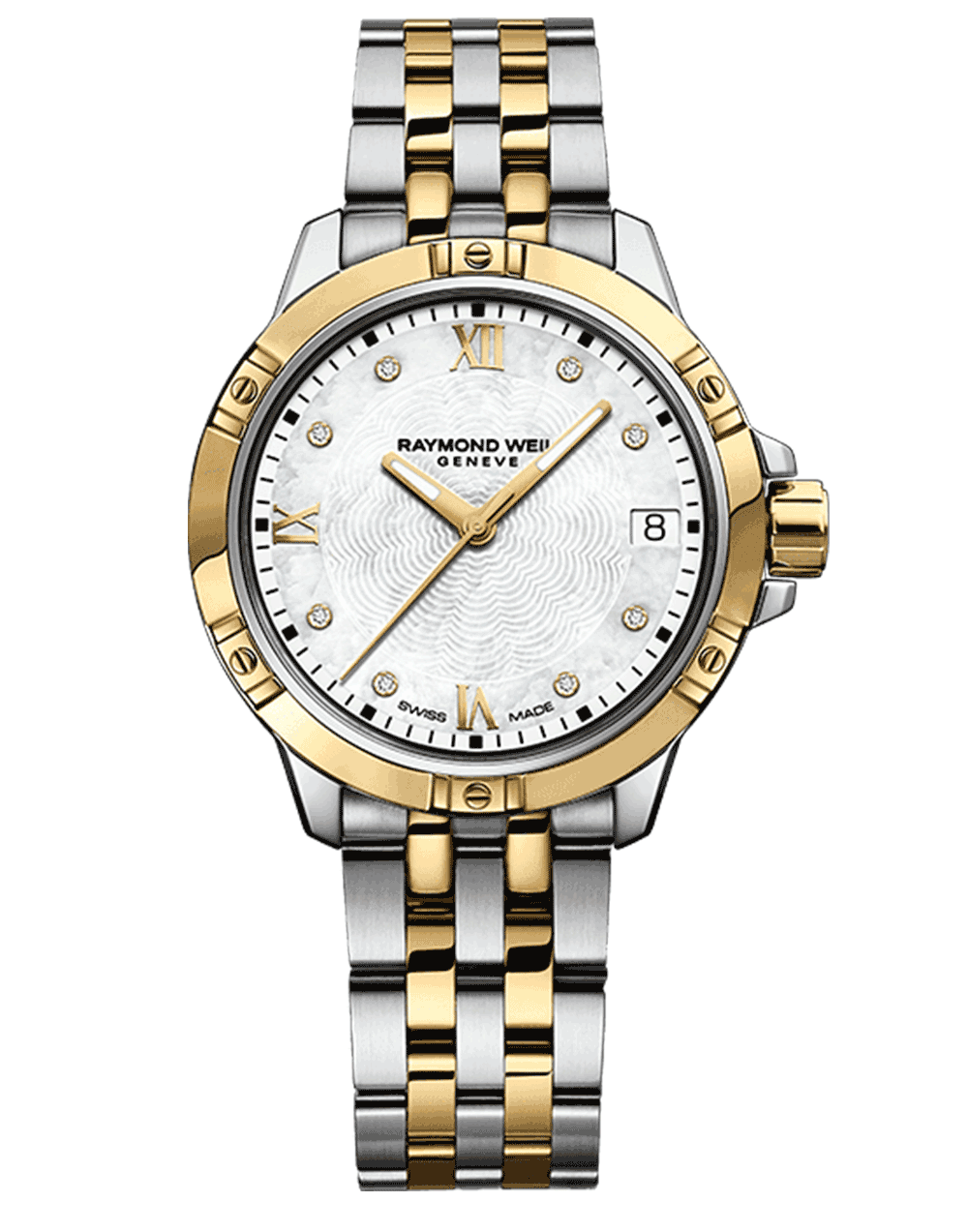 RAYMOND WEIL Geneve Gold Two tone Stainless Steel Quartz Ladies Luxury Watch