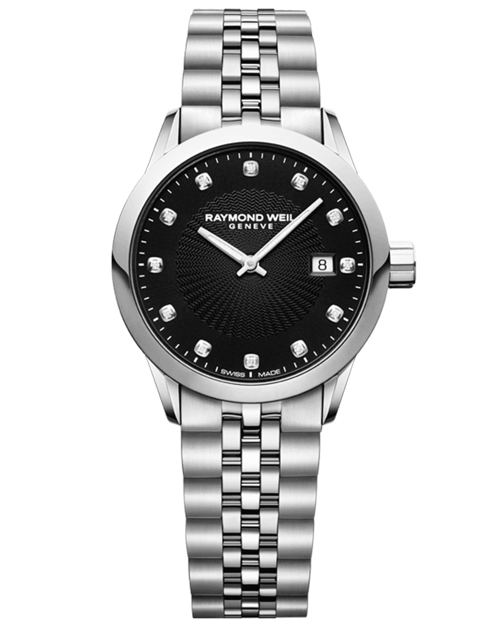 RAYMOND WEIL black dial stainless steel ladies freelancer with diamond indexes