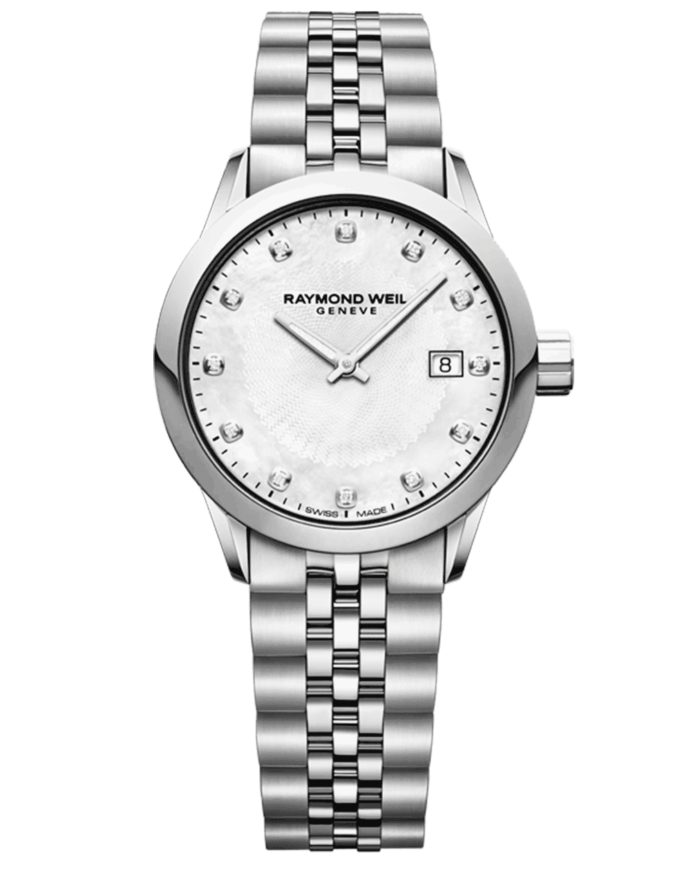 RAYMOND WEIL Freelancer Ladies 12 Diamond Steel Bracelet Quartz Watch, 29mm