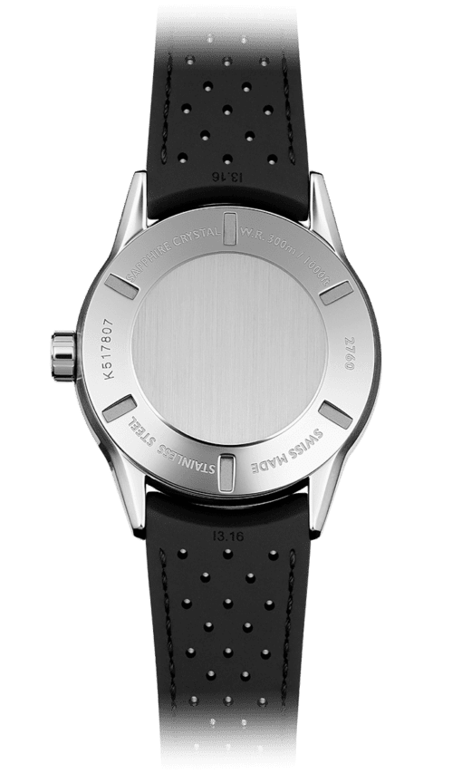 Back of the Freelancer Diver Watch with steel backing and black rubber strap