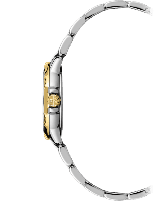 View from the side of Raymond Weil's Tango watch for women. Stainless steel band with amazing gold accents.