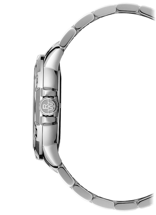 Side view of silver toned stainless steel watch and band. Silver toned crown has Raymond Weil logo