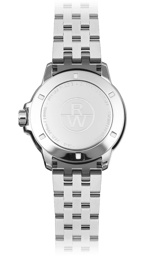 Back view of silver stainless steel watch face and band with Raymond Weil logo. Swiss made