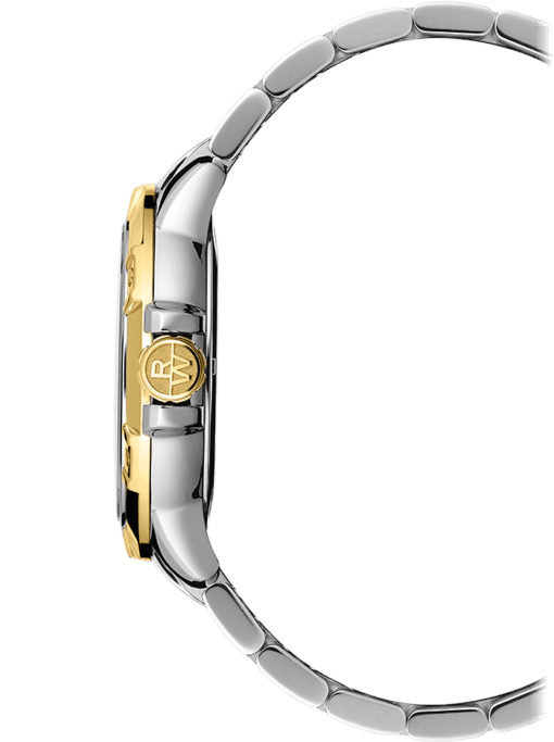 Side view of Tango men's watch, silver-bracelet with gold knob and gold bezel. Gold knob has Raymond Weil logo