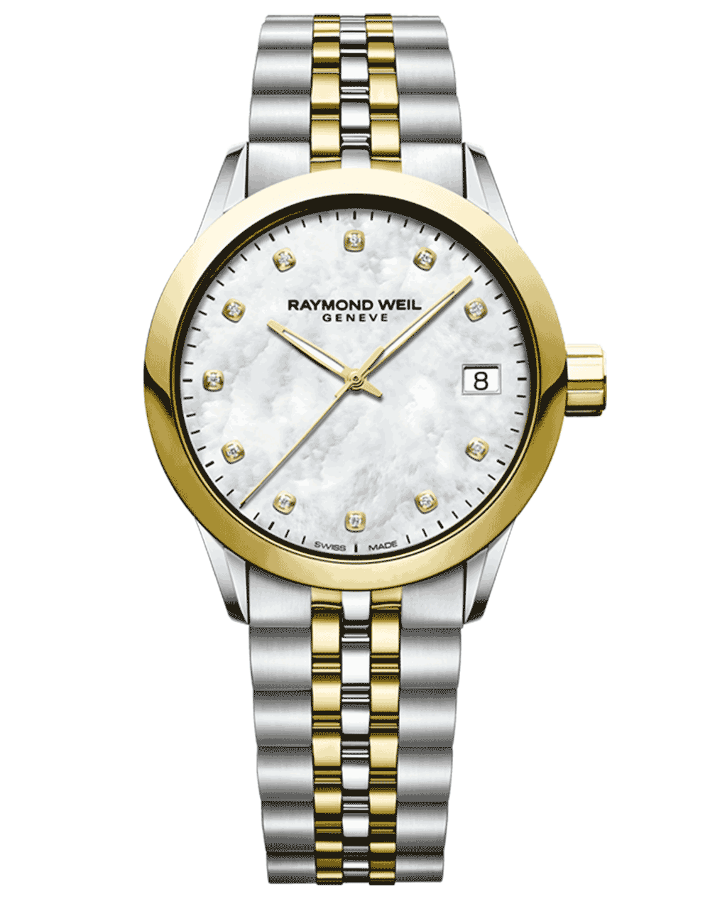 RAYMOND WEIL mother of pearl dial two tone ladies freelancer with diamond indexes
