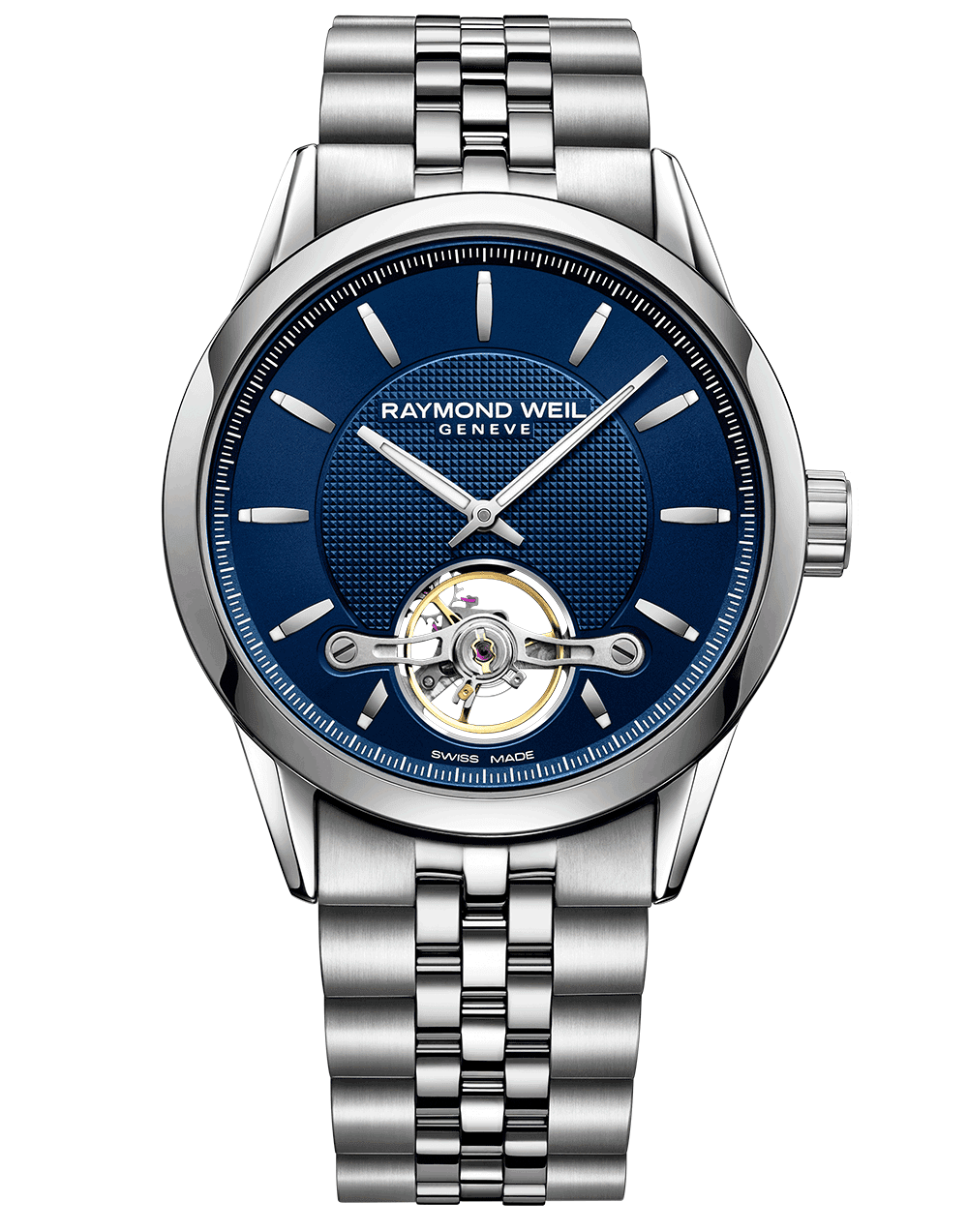 RAYMOND WEIL freelancer blue dial visible balance wheel