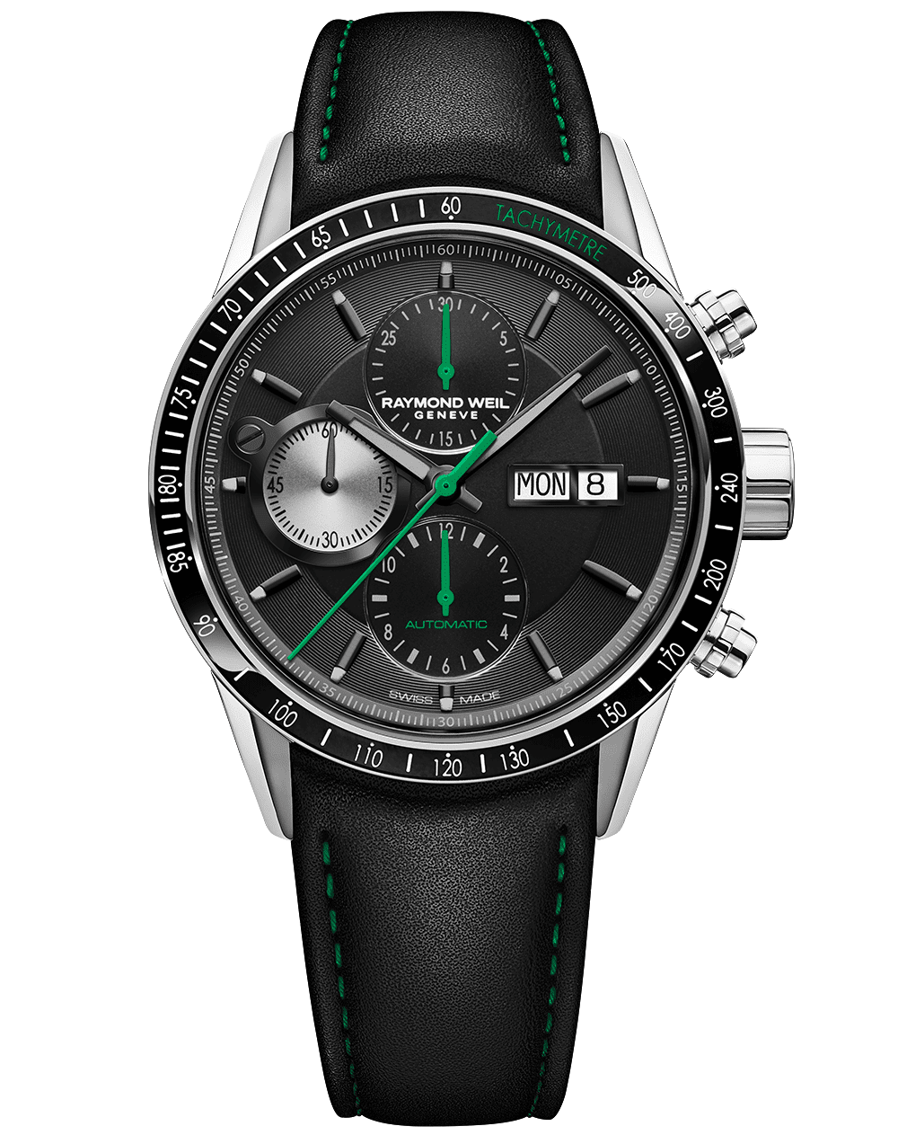 RAYMOND WEIL Freelancer Chronograph Black Leather Watch