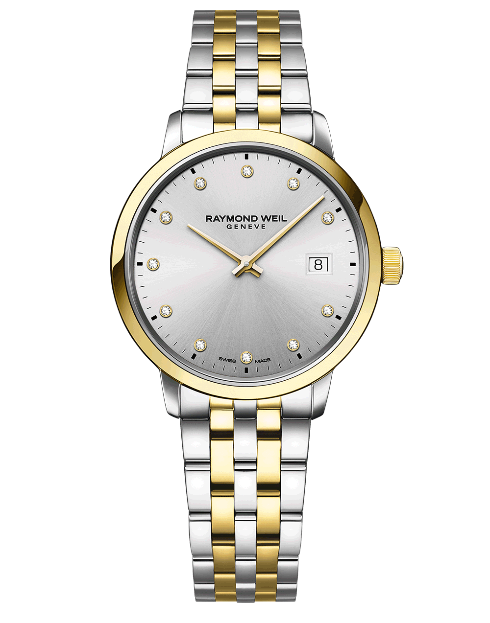 RAYMOND WEIL silver dial two tone ladies toccata with diamond indexes