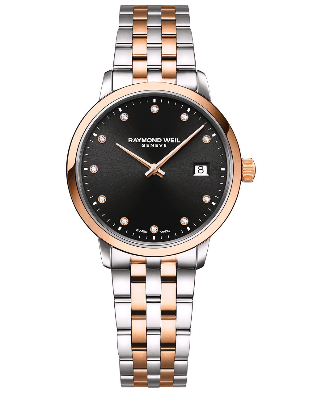 RAYMOND WEIL black dial two tone rose gold ladies toccata with diamond indexes