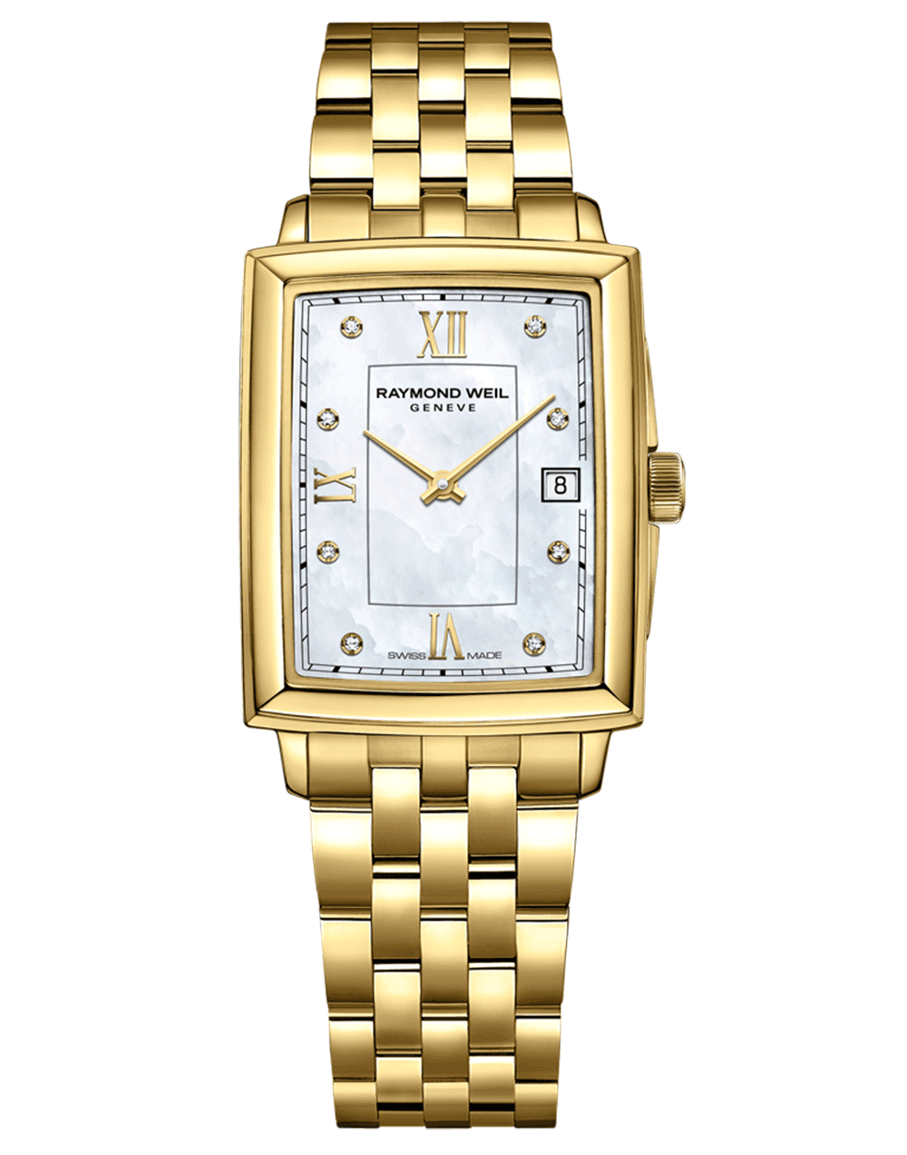 RAYMOND WEIL Toccata Square Gold Mother of Pearl Diamond Indexes Quartz Watch