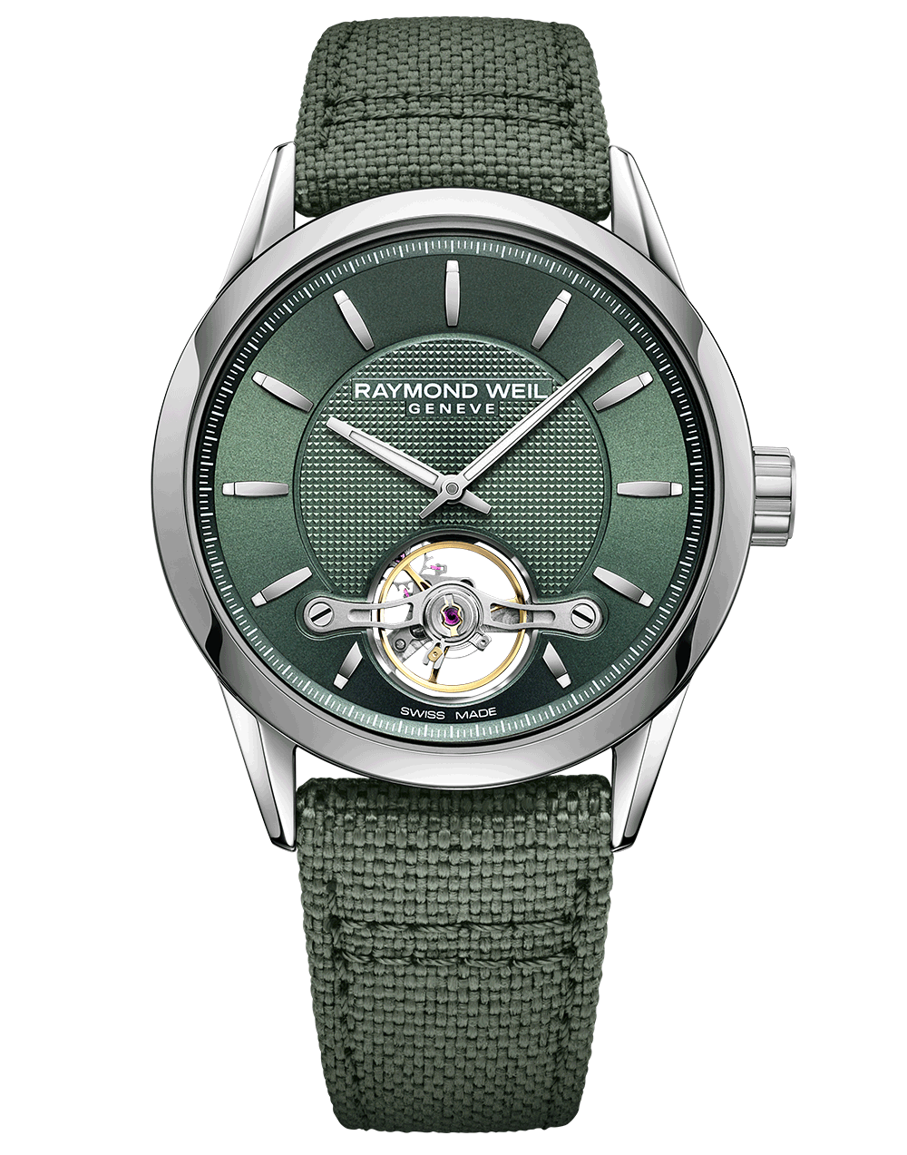 RAYMOND WEIL RW1212 men's green freelancer automatic watch front view