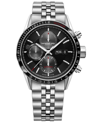 RAYMOND WEIL freelancer automatic chronograph with a black dial stainless steel bracelet and red indexes