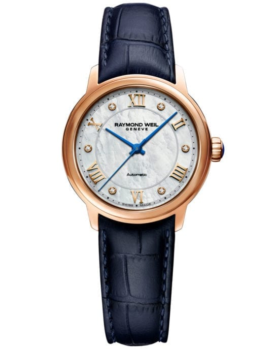 Maestro Ladies Automatic Mother-of-Pearl Diamond Leather Watch, 31mm